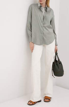 Женская шелковая рубашка BRUNELLO CUCINELLI зеленого цвета, арт. MP741NA506 | Фото 2