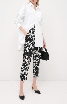 Женские шелковые брюки ESCADA черно-белого цвета, арт. 5033830 | Фото 2