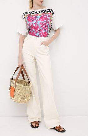 Женская футболка из шелка и хлопка ESCADA белого цвета, арт. 5033414 | Фото 2