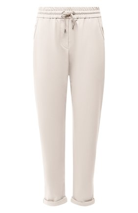 Женские хлопковые брюки BRUNELLO CUCINELLI бежевого цвета, арт. MH827SA399 | Фото 1