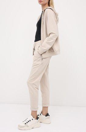 Женские хлопковые брюки BRUNELLO CUCINELLI бежевого цвета, арт. MH827SA399 | Фото 2