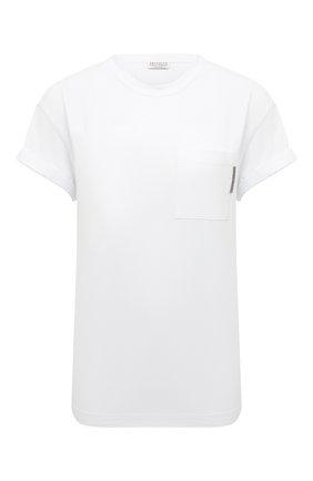 Женская хлопковая футболка BRUNELLO CUCINELLI белого цвета, арт. M0T18BB300 | Фото 1