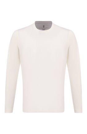 Мужская хлопковый лонгслив BRUNELLO CUCINELLI белого цвета, арт. M0T617433 | Фото 1