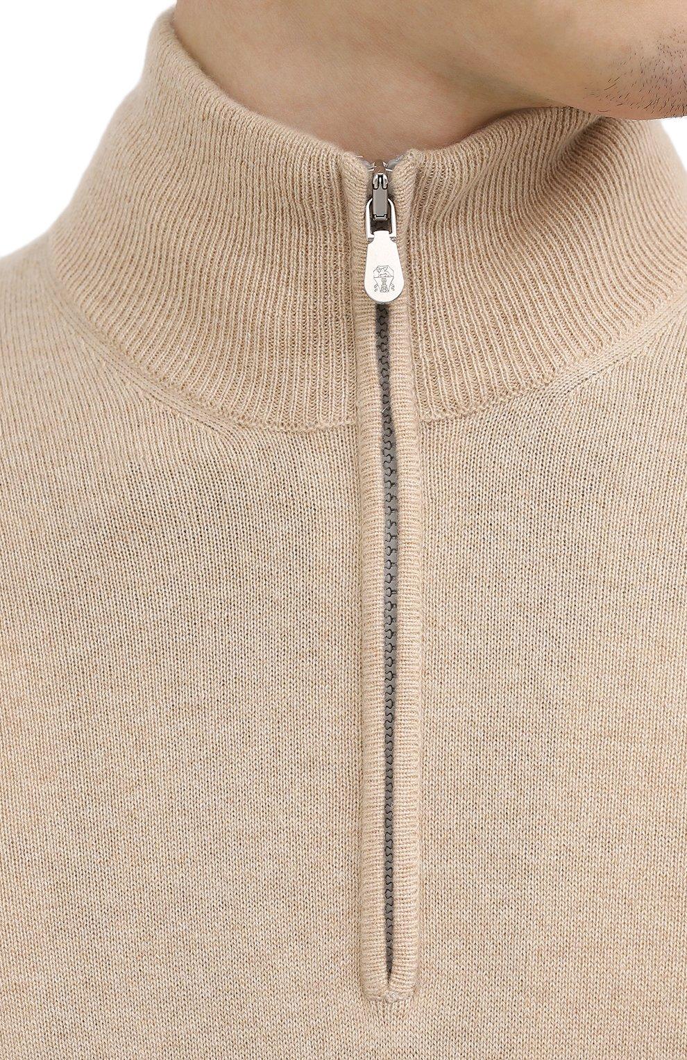 Мужской кашемировый джемпер BRUNELLO CUCINELLI светло-бежевого цвета, арт. M2200124 | Фото 5