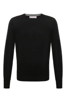 Мужской джемпер из шерсти и кашемира BRUNELLO CUCINELLI черного цвета, арт. M2400100   Фото 1