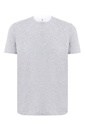 Мужская хлопковая футболка BRUNELLO CUCINELLI серого цвета, арт. M0T617423 | Фото 1