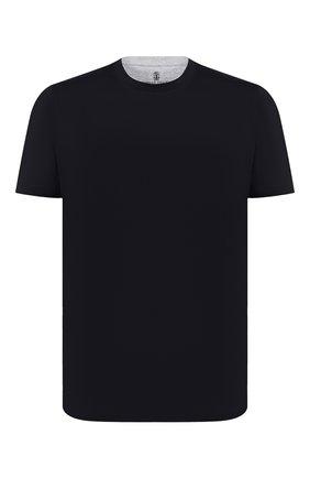 Мужская хлопковая футболка BRUNELLO CUCINELLI черного цвета, арт. M0T617423   Фото 1