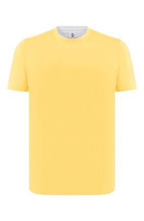 Мужская хлопковая футболка BRUNELLO CUCINELLI желтого цвета, арт. M0T617423 | Фото 1