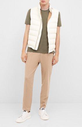 Мужская хлопковая футболка BRUNELLO CUCINELLI хаки цвета, арт. M0T617423 | Фото 2
