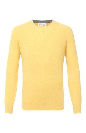 Мужской кашемировый свитер BRUNELLO CUCINELLI желтого цвета, арт. M2229510 | Фото 1