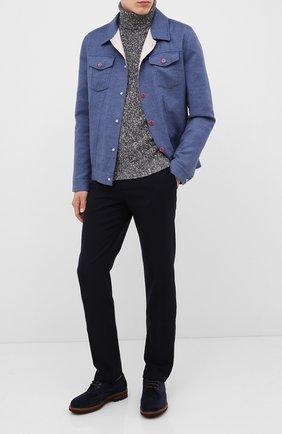 Мужской свитер из шерсти и кашемира BRUNELLO CUCINELLI темно-синего цвета, арт. M26500603 | Фото 2