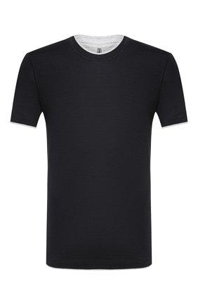 Мужская футболка из шелка и хлопка BRUNELLO CUCINELLI черного цвета, арт. MTS377427   Фото 1