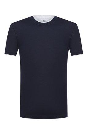 Мужская футболка из шелка и хлопка BRUNELLO CUCINELLI темно-синего цвета, арт. MTS377427 | Фото 1