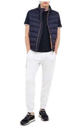 Мужская футболка из шелка и хлопка BRUNELLO CUCINELLI темно-синего цвета, арт. MTS377427 | Фото 2
