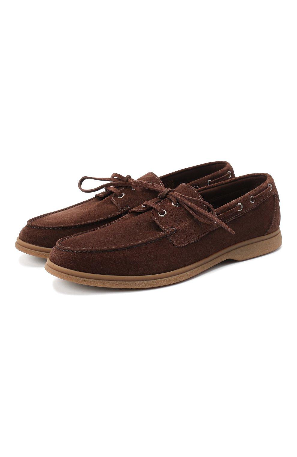 Мужские замшевые топсайдеры BRUNELLO CUCINELLI коричневого цвета, арт. MZUC0BB943 | Фото 1 (Мужское Кросс-КТ: Топсайдеры-обувь; Материал внутренний: Натуральная кожа; Материал внешний: Замша; Стили: Кэжуэл)