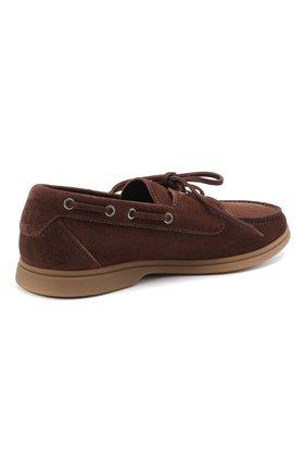 Мужские замшевые топсайдеры BRUNELLO CUCINELLI коричневого цвета, арт. MZUC0BB943 | Фото 4 (Мужское Кросс-КТ: Топсайдеры-обувь; Материал внутренний: Натуральная кожа; Материал внешний: Замша; Стили: Кэжуэл)