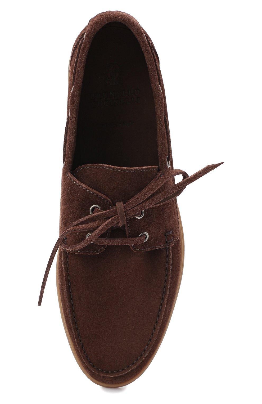 Мужские замшевые топсайдеры BRUNELLO CUCINELLI коричневого цвета, арт. MZUC0BB943 | Фото 5 (Мужское Кросс-КТ: Топсайдеры-обувь; Материал внутренний: Натуральная кожа; Материал внешний: Замша; Стили: Кэжуэл)