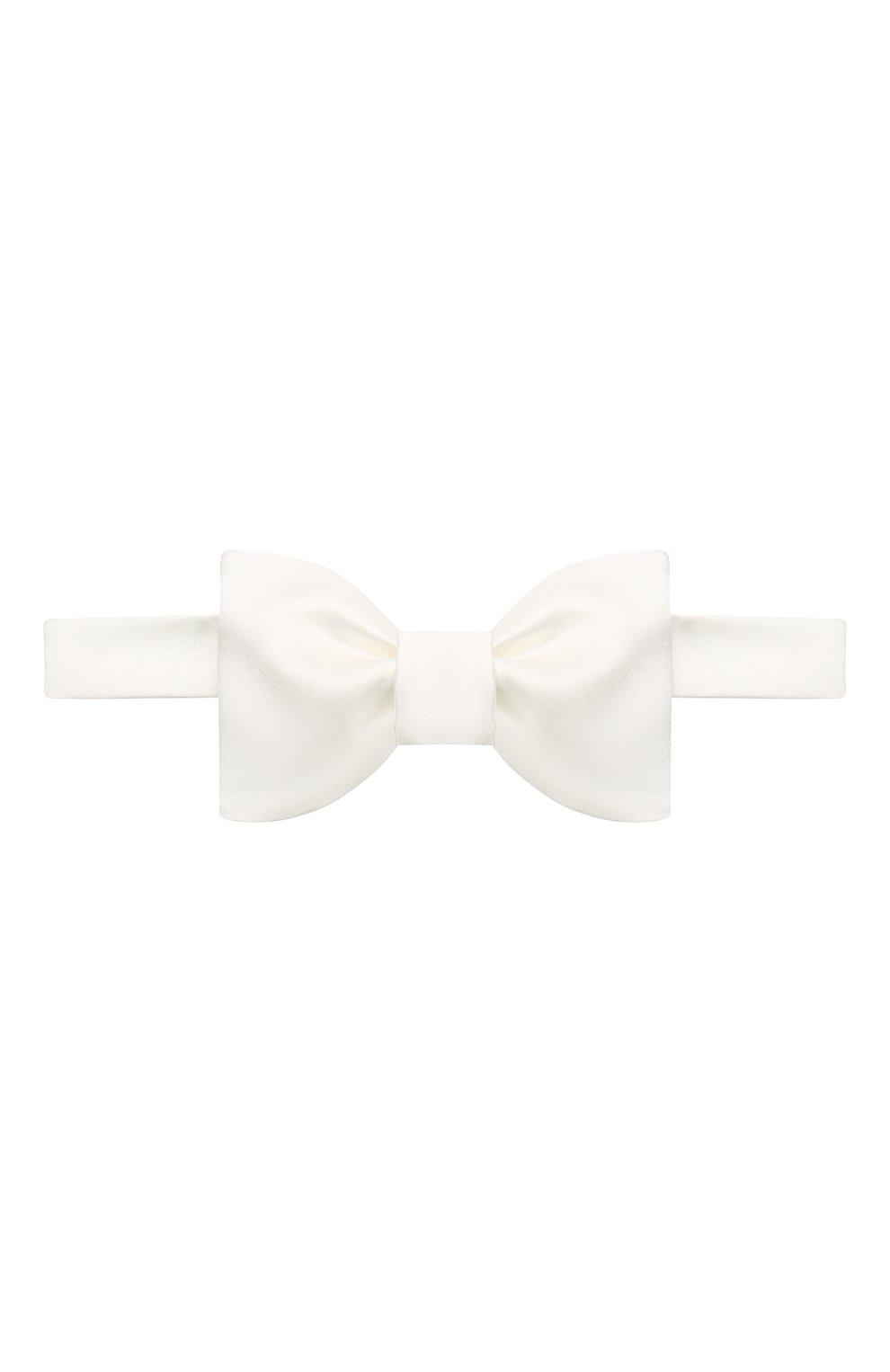 Мужской галстук-бабочка из хлопка и шелка BRUNELLO CUCINELLI белого цвета, арт. MR8130003 | Фото 1