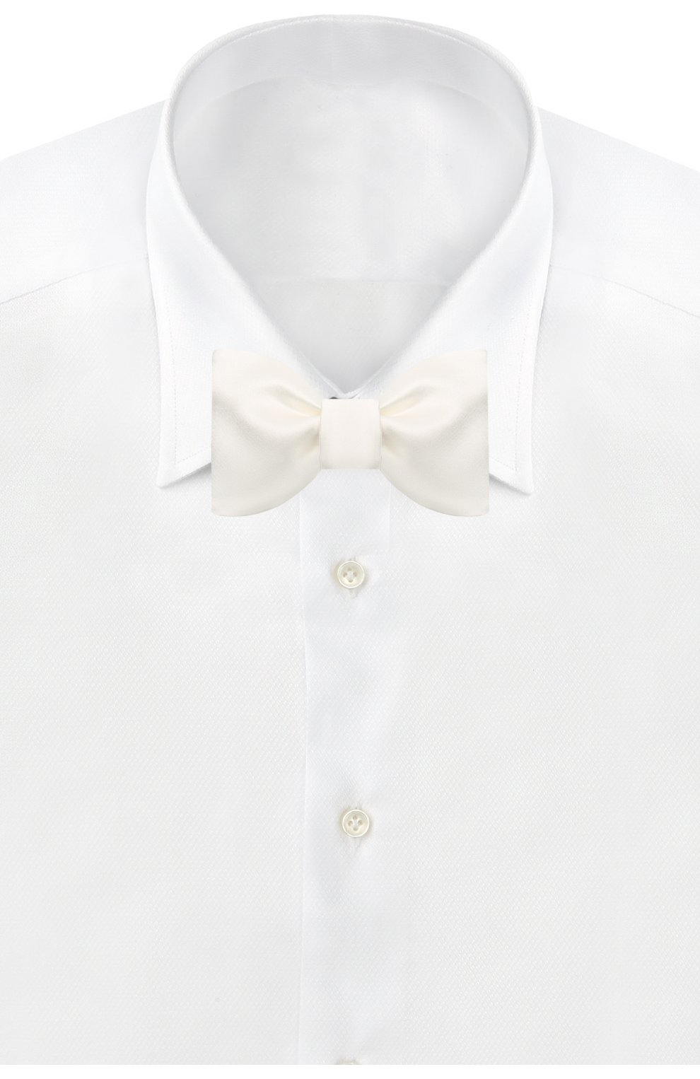 Мужской галстук-бабочка из хлопка и шелка BRUNELLO CUCINELLI белого цвета, арт. MR8130003 | Фото 2