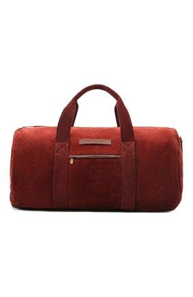 Мужская замшевая дорожная сумка BRUNELLO CUCINELLI бордового цвета, арт. MBCBU358 | Фото 1