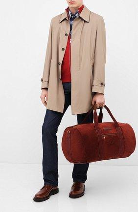 Мужская замшевая дорожная сумка BRUNELLO CUCINELLI бордового цвета, арт. MBCBU358 | Фото 2