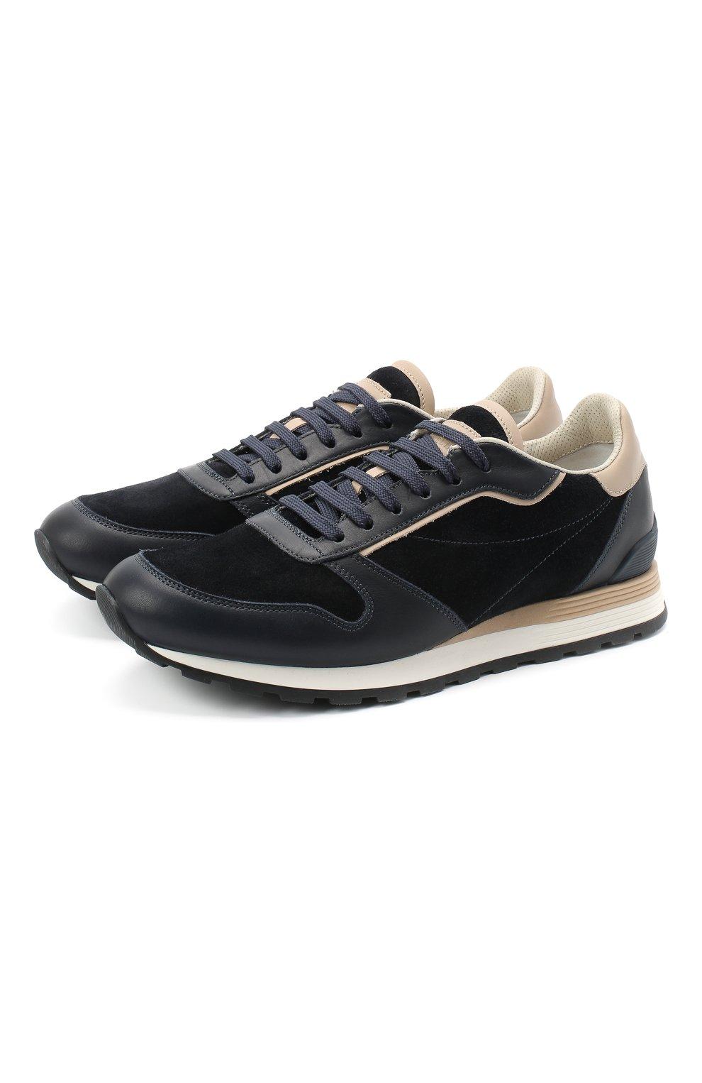 Мужские комбинированные кроссовки BRUNELLO CUCINELLI темно-синего цвета, арт. MZUSBBA258 | Фото 1