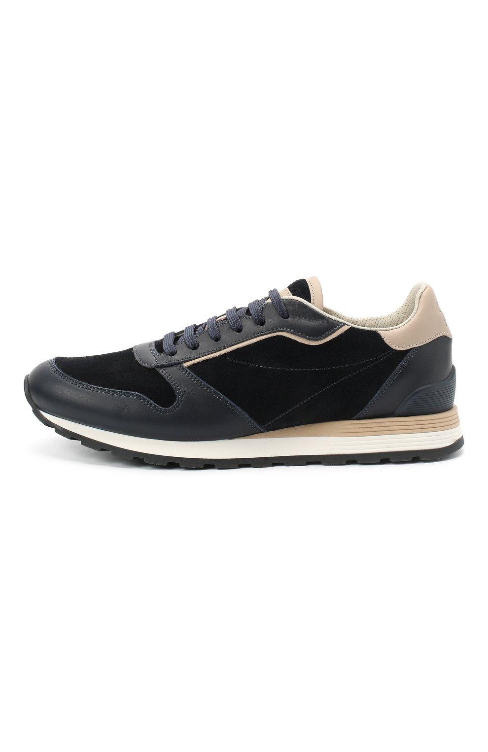 Мужские комбинированные кроссовки BRUNELLO CUCINELLI темно-синего цвета, арт. MZUSBBA258 | Фото 3