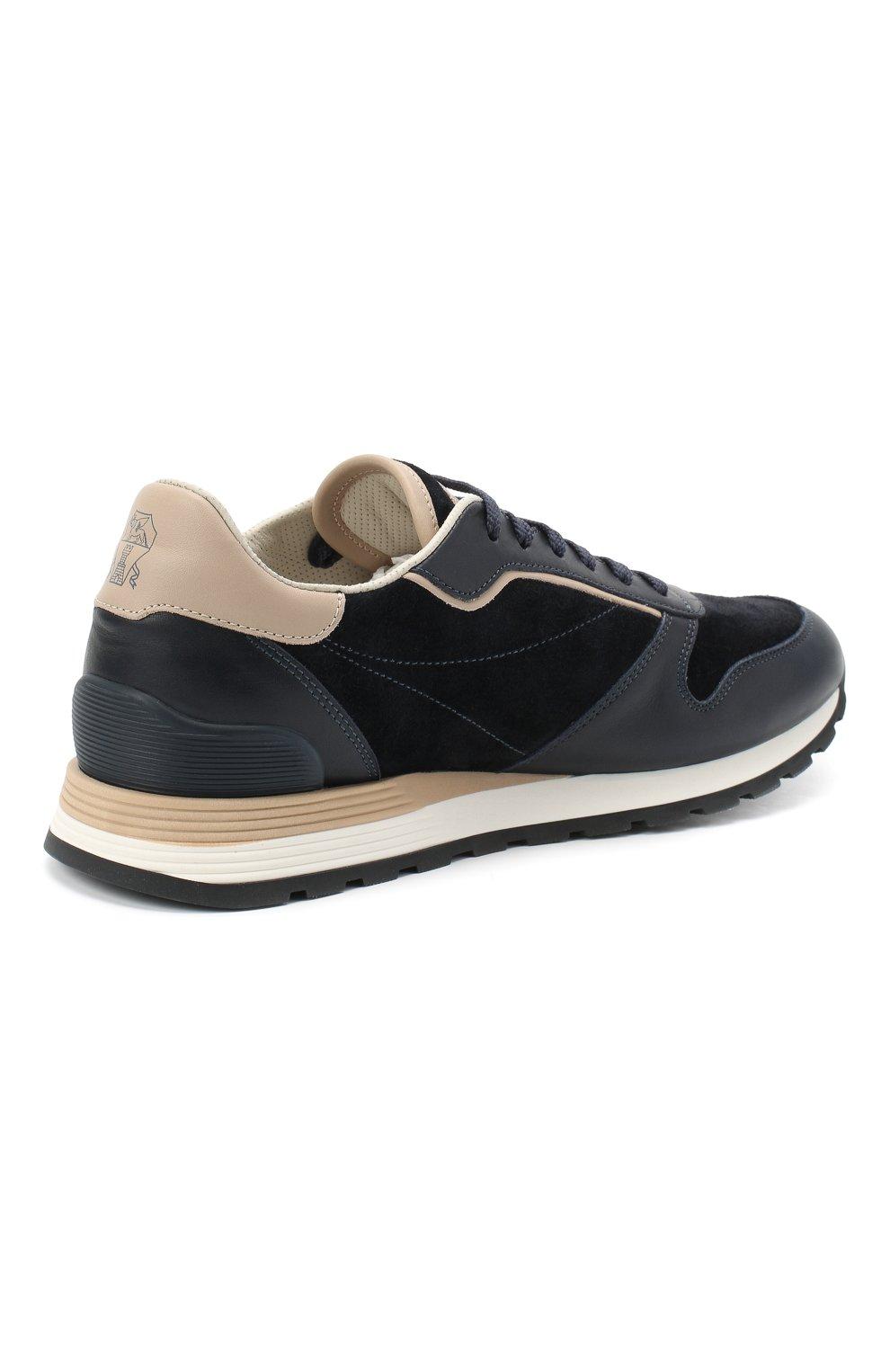 Мужские комбинированные кроссовки BRUNELLO CUCINELLI темно-синего цвета, арт. MZUSBBA258 | Фото 4
