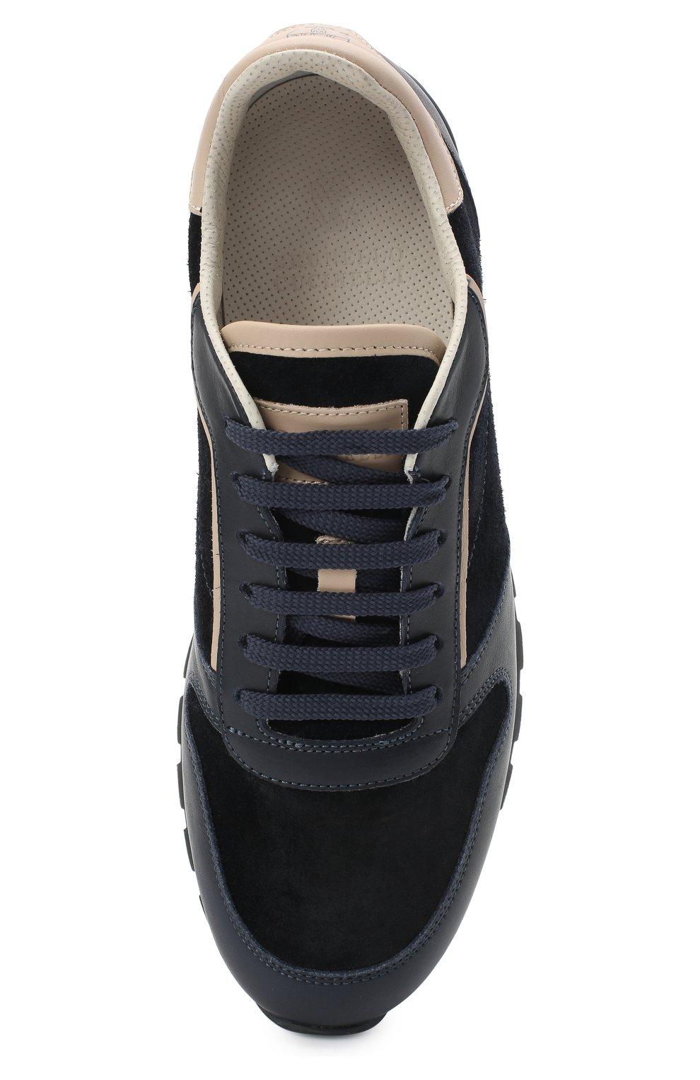 Мужские комбинированные кроссовки BRUNELLO CUCINELLI темно-синего цвета, арт. MZUSBBA258 | Фото 5