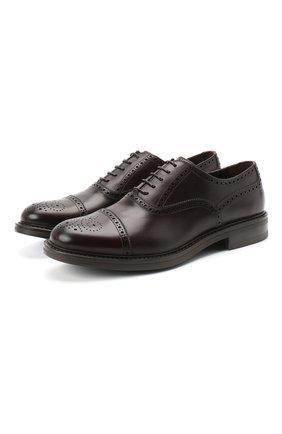 Мужские кожаные оксфорды W.GIBBS темно-коричневого цвета, арт. 3169010/0214 | Фото 1