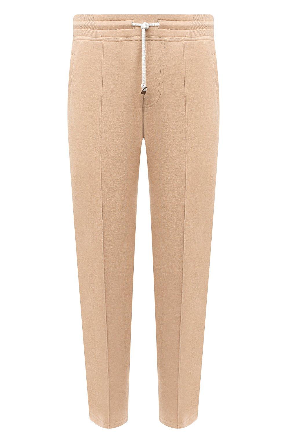 Мужские хлопковые брюки BRUNELLO CUCINELLI бежевого цвета, арт. M0T313212G   Фото 1 (Мужское Кросс-КТ: Брюки-трикотаж; Случай: Повседневный; Материал внешний: Хлопок; Длина (брюки, джинсы): Укороченные)