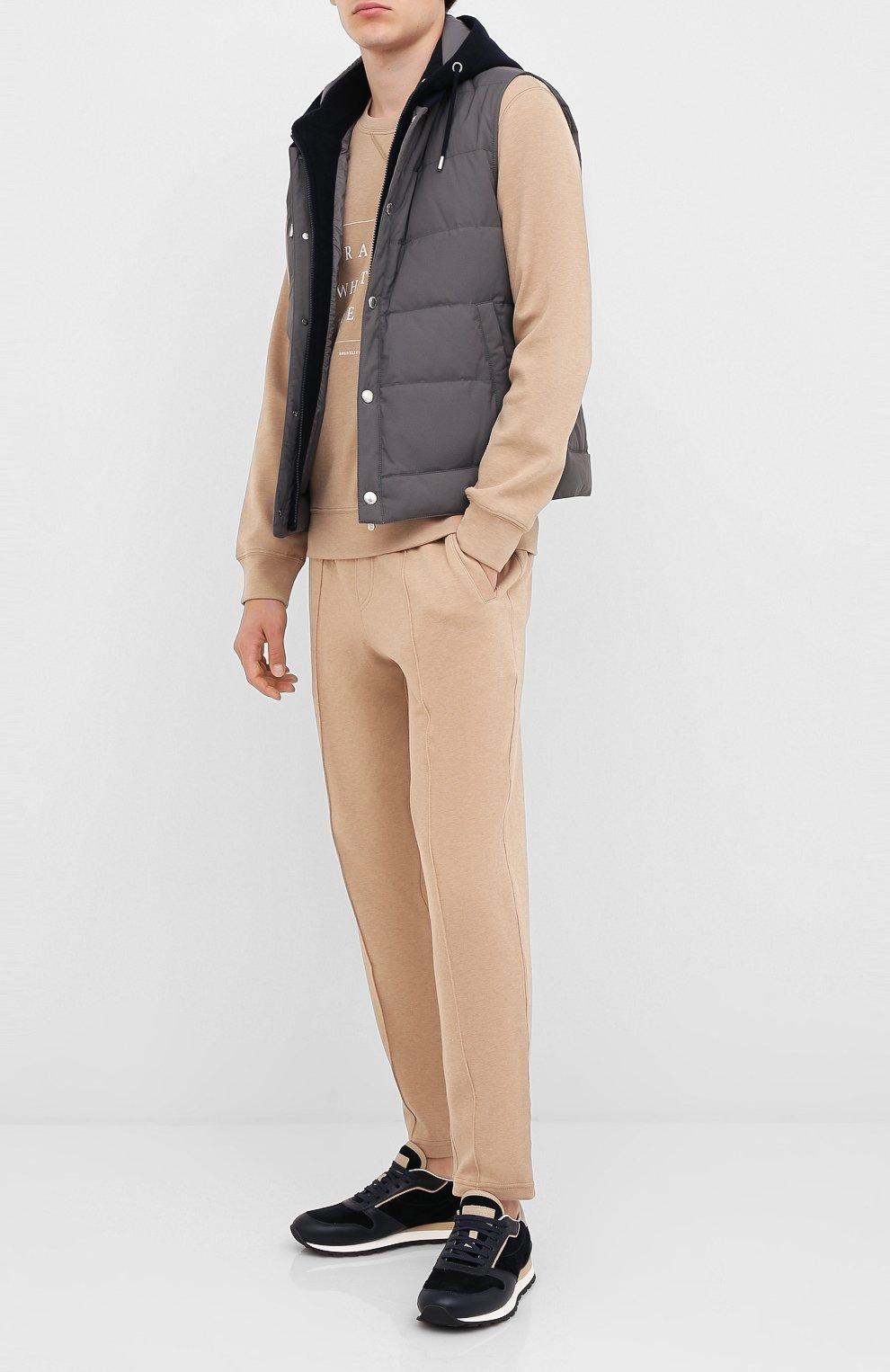 Мужские хлопковые брюки BRUNELLO CUCINELLI бежевого цвета, арт. M0T313212G   Фото 2 (Мужское Кросс-КТ: Брюки-трикотаж; Случай: Повседневный; Материал внешний: Хлопок; Длина (брюки, джинсы): Укороченные)