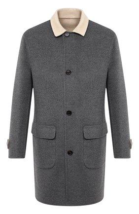 Мужской двустороннее кашемировое пальто BRUNELLO CUCINELLI серого цвета, арт. ML4549947   Фото 1