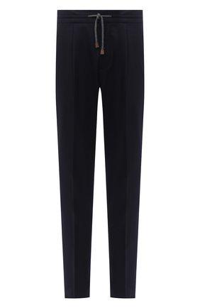 Мужские шерстяные брюки BRUNELLO CUCINELLI темно-синего цвета, арт. M038PE1740 | Фото 1 (Материал внешний: Шерсть; Длина (брюки, джинсы): Стандартные; Случай: Повседневный; Стили: Кэжуэл; Материал подклада: Синтетический материал)