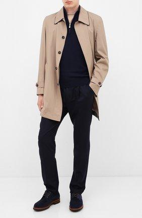 Мужские шерстяные брюки BRUNELLO CUCINELLI темно-синего цвета, арт. M038PE1740 | Фото 2 (Материал внешний: Шерсть; Длина (брюки, джинсы): Стандартные; Случай: Повседневный; Стили: Кэжуэл; Материал подклада: Синтетический материал)