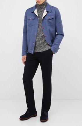 Мужской шерстяные брюки BRUNELLO CUCINELLI темно-синего цвета, арт. ME231B1770 | Фото 2