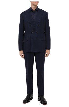 Мужской шерстяной костюм BRUNELLO CUCINELLI темно-синего цвета, арт. MN4167BPZA | Фото 1