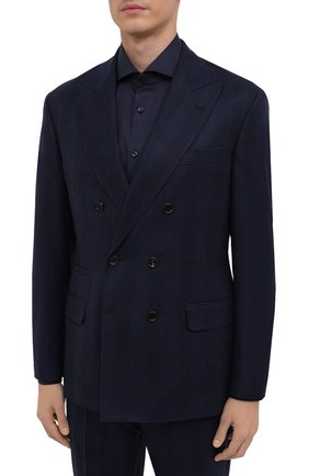 Мужской шерстяной костюм BRUNELLO CUCINELLI темно-синего цвета, арт. MN4167BPZA | Фото 2