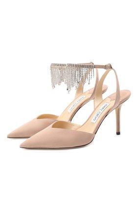 Женская замшевые туфли birtie 85 JIMMY CHOO розового цвета, арт. BIRTIE 85/DRS | Фото 1