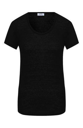 Женская льняная футболка LA FABBRICA DEL LINO черного цвета, арт. ES918 | Фото 1