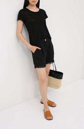 Женская льняная футболка LA FABBRICA DEL LINO черного цвета, арт. ES918 | Фото 2