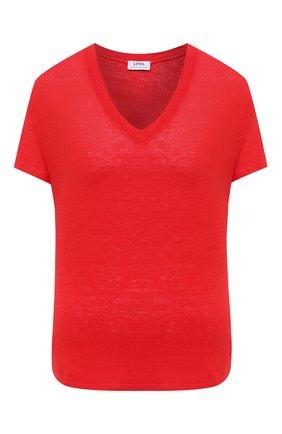 Женская льняная футболка LA FABBRICA DEL LINO красного цвета, арт. ES917 | Фото 1