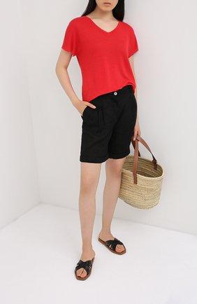 Женская льняная футболка LA FABBRICA DEL LINO красного цвета, арт. ES917 | Фото 2