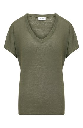 Женская льняная футболка LA FABBRICA DEL LINO хаки цвета, арт. ES917 | Фото 1