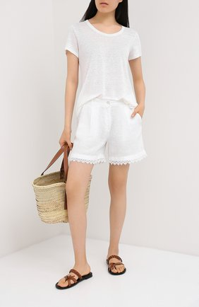 Женская льняная футболка LA FABBRICA DEL LINO белого цвета, арт. ES918 | Фото 2