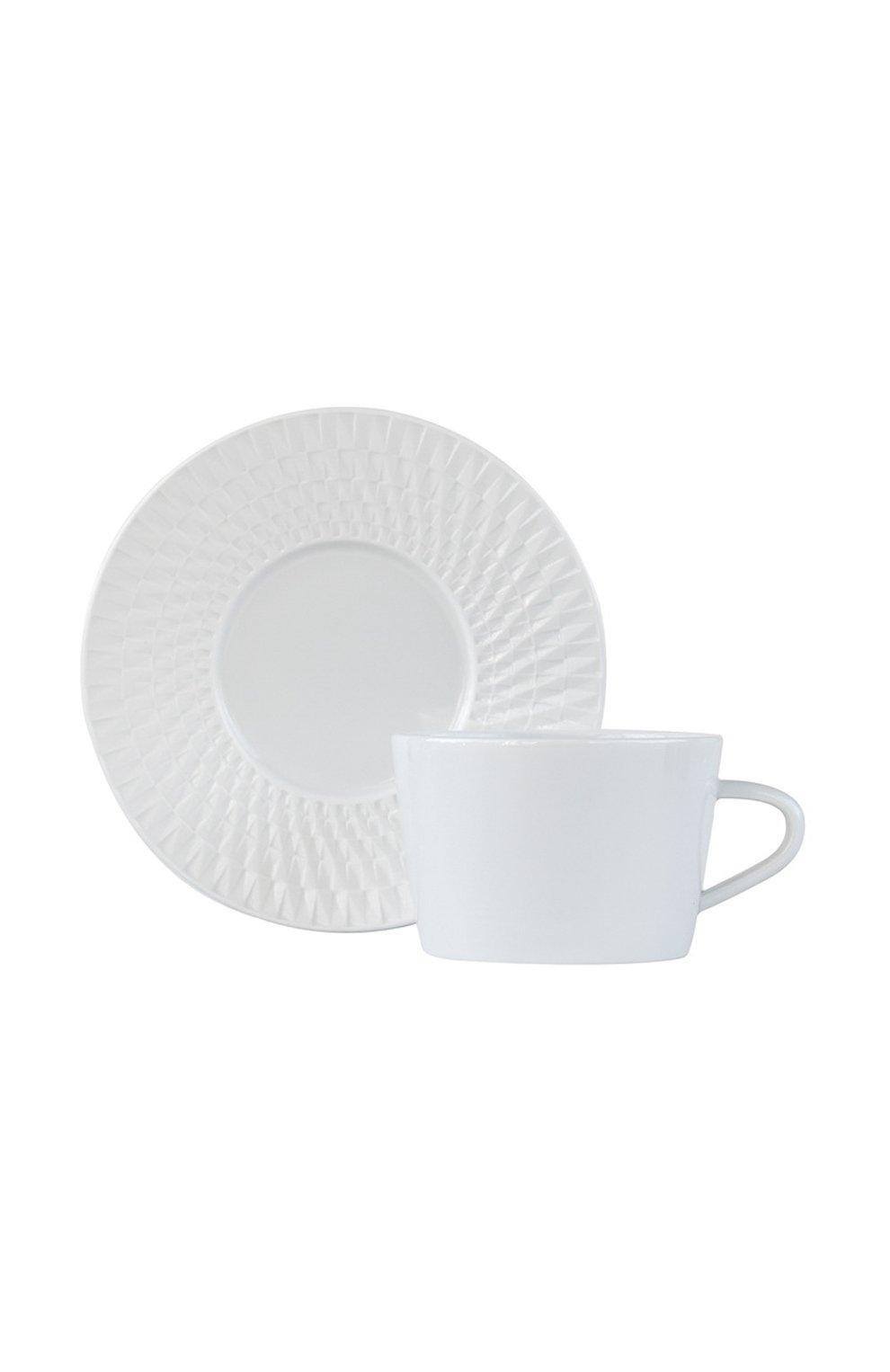 Мужского чайная чашка с блюдцем twist blanc BERNARDAUD белого цвета, арт. 1836/89 | Фото 1
