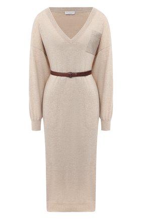 Женское кашемировое платье BRUNELLO CUCINELLI бежевого цвета, арт. M2E811A92P | Фото 1