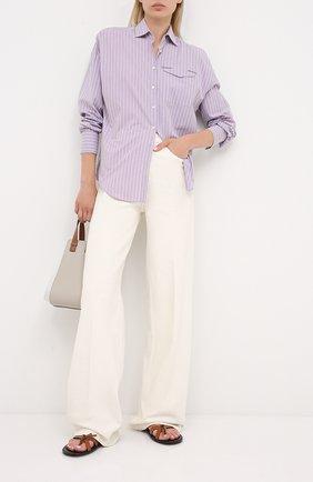 Женская хлопковая рубашка BRUNELLO CUCINELLI сиреневого цвета, арт. MP733MF116 | Фото 2