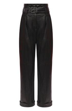 Женские кожаные брюки BRUNELLO CUCINELLI черного цвета, арт. MPTANP7392 | Фото 1