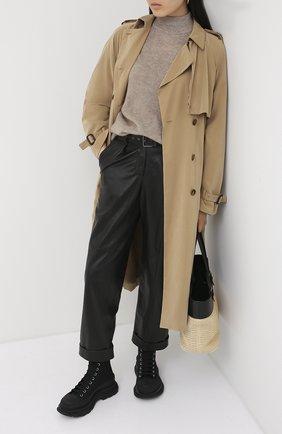 Женские кожаные брюки BRUNELLO CUCINELLI черного цвета, арт. MPTANP7392 | Фото 2